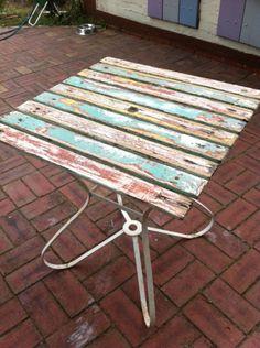 Retro Vintage Funky Metal Timber Outdoor Table | eBay