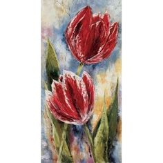 Posterazzi Red tulips Canvas Art - Rian Withaar (24 x 48)