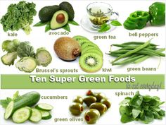 Ten Super Green Foods to Eat Every Day - Healthy Green Foods that help the body fight inflammation - the root cause of disease. Healthy Tips, Healthy Eating, Healthy Recipes, Healthy Foods, Clean Eating, Healthy Habits, Paleo Meals, Juice Recipes, Healthy Dishes