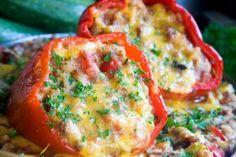 Quinoa, veggies, & feta stuffed peppers