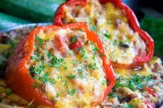 Quinoa, veggies, & feta stuffed peppers