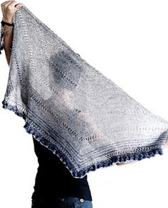 NoFa is a light weight half-hexagon shawl knit from the top down, with flowing stockinette fabric to show off the fancy yarn and a very simple lace detail to break the monotony and give some visual interest.