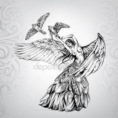 Скачать - Ангел Танцы Птицами — стоковая иллюстрация #176063778