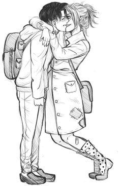 Attack on Titan (SnK) - Levi Ackerman and Zoe Hange - LeviHan Attack On Titan Ships, Attack On Titan Fanart, Attack On Titan Levi, Tall Girl Short Guy, Tall Girls, Hanji And Levi, Rivamika, Titans Anime, Captain Levi