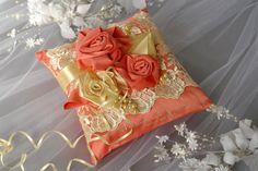 Peach Echo Ring Bearer Pillow Lace Gold Cream by DreamWeddingg