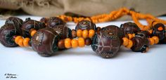 "Beaded necklace ""Following the Sun"" Africa polymer clay beads fantasy boho shic chocolate orange wooden beads flat varnish"