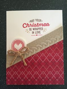 A quick and simple card using SU Wrapped in Warmth stamp set and Cable Knit 3D embossing folder