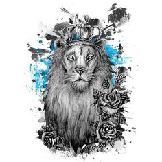 watercolor lion ile ilgili görsel sonucu