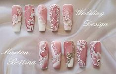 White Flowers Nail Art # Wedding Nails - http: // rolling-top . 3d Nail Art, 3d Nails, Nail Arts, Cute Nails, Pretty Nails, Stiletto Nails, Acrylic Nails, Pastel Nails, Art 3d