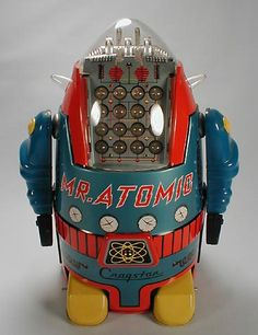 "Mr. Atomic is a potential winner of ""Vintage Robot Beauty Contest"", if there was such a thing! It's got 16 blinking lamps to show off its considerable intelligence"