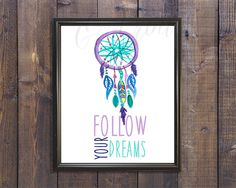 Follow Your Dreams Watercolor Dream Catcher by LoveandPrint
