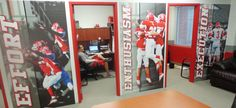 College Locker Room Design Its easy to sink a significant amount of money into creating the ultimate locker room. What makes for a positive experience off the court not just on . Locker Signs, Wall Signs, Gym Design, House Design, High School Lockers, Wood Lockers, Soccer Birthday Parties, Swag Ideas, Large Wall Murals