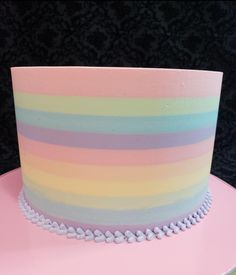 Rainbow stripes butter cream cake by Ester Siswadi
