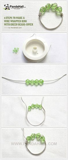 easy crafts : 4 Steps to Make a Wire Wrapped Ring with Green Beads ... | easy…