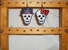 Awesome earrings for sale on Etsy, just click the link for details - thanks for looking! https://www.etsy.com/listing/163878637/beaded-skull-earrings-dia-de-los-muertos?