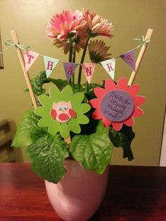 Thank you for helping us grow plant for teacher appreciation using banner and flower picks to decorate a plant. Banner and flower picks were created with adhesive card stock cut on the silhouette cameo.