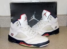 big sale a1b42 ef022 AIR JORDAN Retro 5 - 136027 White Varsity Red Mid Navy with Box Exc. Cond.   Jordan  BasketballShoes