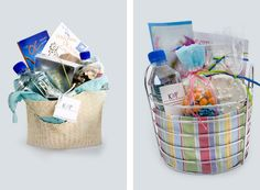Out of Town Guest Gift Baskets - good ideas like sunscreen, disposable camera, band aids -- love that for blisters due to new party shoes Wedding Gift Bags, Wedding Gifts For Guests, Wedding Welcome Bags, Wedding Wishes, Wedding Favors, Our Wedding, Wedding Ideas, The Jewish Bride, Guest Basket