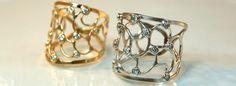 14k Gold and Diamond Chrysalis Rings.