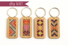 Cross Stitch Kit, Stitched Wood Key Ring, DIY Kit, Modern Cross Stitch, Key Chain Kit