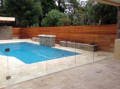 Glass Pool Fence sandstone pool surround, frameless glass pool fence