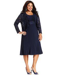 R&M Richards Plus Size Sleeveless Embroidered Dress and Jacket