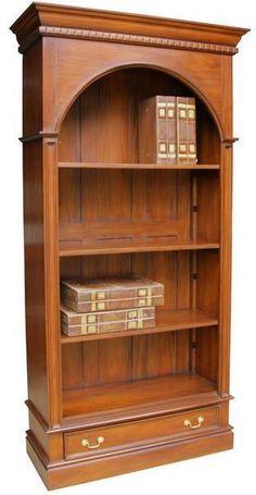 Mahogany Arch Bookcase Living Room Storage Unit Furniture Drawer Shelves Handles