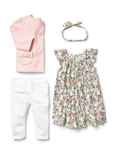 Baby Gap Bow Pocket Jacket, Floral Flutter Dress, and Legging Jeans - baby girl outfit