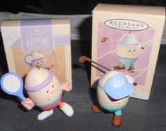 Eggselent gift for the sports fan at Easter Lot of (2) Vintage Hallmark Keepsake 1993 & 1994 Eggs in Sports Collector's Series Easter Tree Oranament Golf Tennis