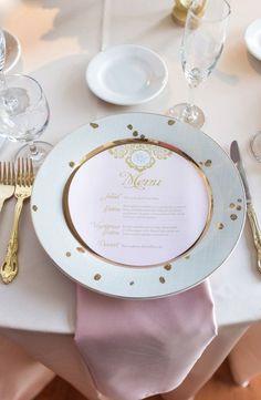Wedding reception menu decor idea; Featured Photographer: Megan Noll Photography