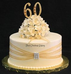 60th Birthday Cake | Flickr - Photo Sharing with ribbon around with wedding brooch on !