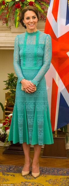 Kate teamed the ethereal green dress with a pair of her favourite nude heels...