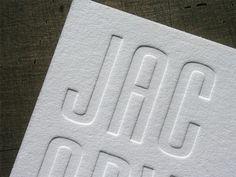 Blind (inkless) Letterpress Business Card: LOVE the impression. Big fan of blind printing.