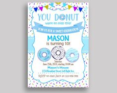Donut Birthday Invitation Donut Birthday Party Invitation Donut Birthday Party Donut Invitation Boy printable, doughnut, downloadable 4X9CJ - Digital Product #birthdayInvitations #birthdayParty #birthdayPartyInvitations