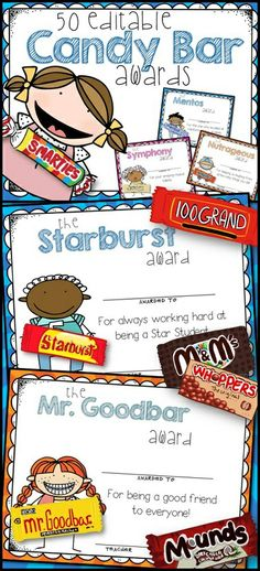 50 EDITABLE Candy Bar Superlative Awards for the End of School.  Each candy award is offered in both a girl graphic  boy graphic. It's also available in both a colorful sunburst background and one with a white background to help save your ink.  $6