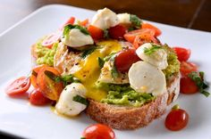 Crusty bread, creamy avocado, a fried egg and dreamy caprese salad is the perfect way to start your day.