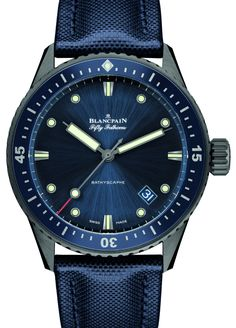 """Blancpain Fifty Fathoms Bathyscaphe Watch In Gray Plasma Ceramic - by Richard Cantley - take a gander at aBlogtoWatch.com """"In a reinterpretation of their famous diving line, we see the Blancpain Fifty Fathoms Bathyscaphe in gray plasma ceramic for Baselworld 2016. Blancpain has created various iterations of this iconic watch in the past, and this vintage-inspired piece is another hit you'll likely admire..."""""""