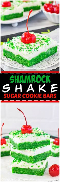 Shamrock Shake Sugar Cookie Bars - easy mint cookie bars with creamy frosting, green sugar, and a cherry make them look like the popular shake. Great dessert for St. (icing for sugar cookies easy) Great Desserts, Köstliche Desserts, Holiday Desserts, Holiday Recipes, Delicious Desserts, Dessert Recipes, Bar Recipes, Holiday Fun, Holiday Ideas