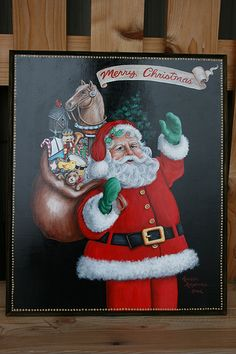 MERRY CHRISTMAS SANTA CLAUS PAINTING hand painted by sherrylpaintz.