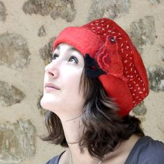 Red Polka dot Felt hat wool hat merino wool cloche French designer felt hat nuno felting warm felt hat handmade France Bird Brooch jannio on Wanelo