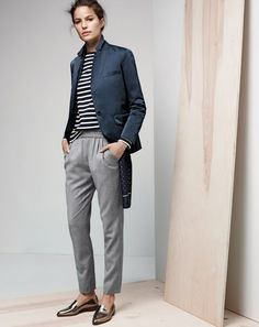 J.Crew women's Rylan blazer, pleated pull-on pant, silk tie scarf, and metallic penny loafers.