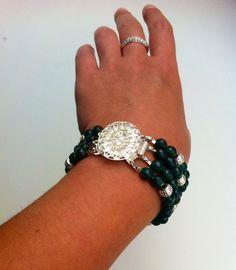 Hanmade bracelet from green quartz with beautiful metal element  #handmade #bijou #bracelet #quartz