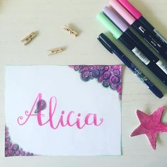 """Alicia: verdadera  Nombre propio femenino de origen griego (alètheia) que significa """"verdad"""" . Quieres ver tu nombre en Lettering?déjanos un comentario #elclubdellettering #nombres #alicia #nombresconlettering #fb #ecdlettering"""