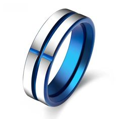 Men's Ring | $75 Electric Blue Stainless Steel Wedding Band-high polished silver and blue color and round beveled edges for a comfort fit.  Stylish Fashion