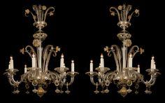 A Fine Pair of Venetian Clear Glass Eight-Light Chandeliers - Adrian Alan
