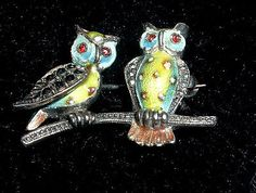 Vintage Alice Caviness Germany Sterling Silver Two Owl Brooch.