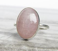 Big Cocktail Ring Hand Forged Silver Rose Quartz Ring Big Rose Quartz Ring P  7.5 Pink Huge Stone Statement Ring Organic Silver Ring