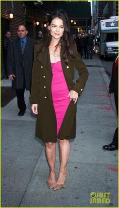LOOK OF THE DAY:Loving the @BALENCIAGA coat with dress combo! www.stylebykadi.com/springcoats  #coats #fashionblogger #style #katieholmes (Photo Courtesy: www.gossiprocks.com)