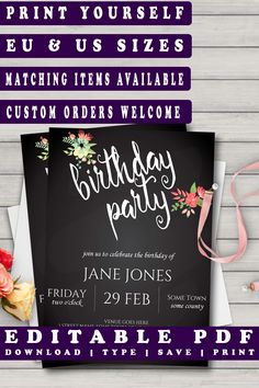 Chalkboard Watercolour Flowers Birthday Invitation https://www.etsy.com/listing/503905275/watercolour-flowers-birthday-party?ref=rss #diyinvitation #printabletemplate #partyinvitation #prandski