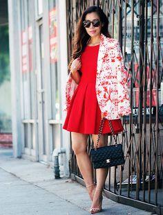 Paul and Joe Floral Blazer, Zara Red Skater Dress, Zara Sandals, Chanel Classic Bag, Karen Walker Super Duper Zara Red Dress, Red Skater Dress, Zara Dresses, Skater Dresses, Tulip Dress, Dress Up, Blazer Dress, Dress Prom, Dress Long